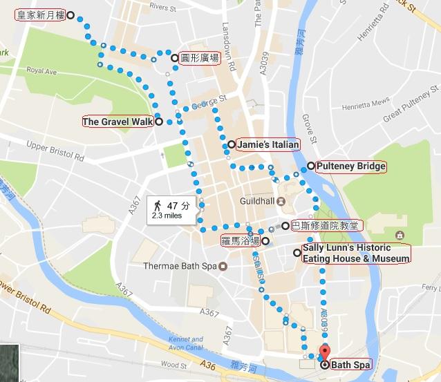 巴斯散步路線, 巴斯地圖, 巴斯一日遊, 巴斯羅馬浴場, 巴斯修道院, 圓形廣場, 皇家新月樓, 倫敦近郊, 英國自助, 英國自由行