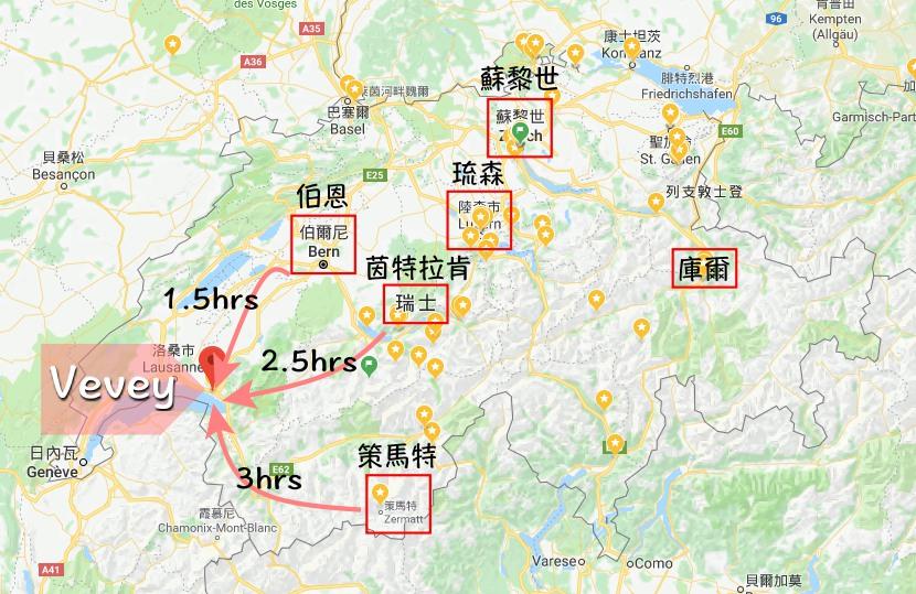 veveymap,沃韋, 瑞士, 雷夢湖, 瑞士自助, vevey散步地圖, 瑞士自由行, 法語區, 卓别林
