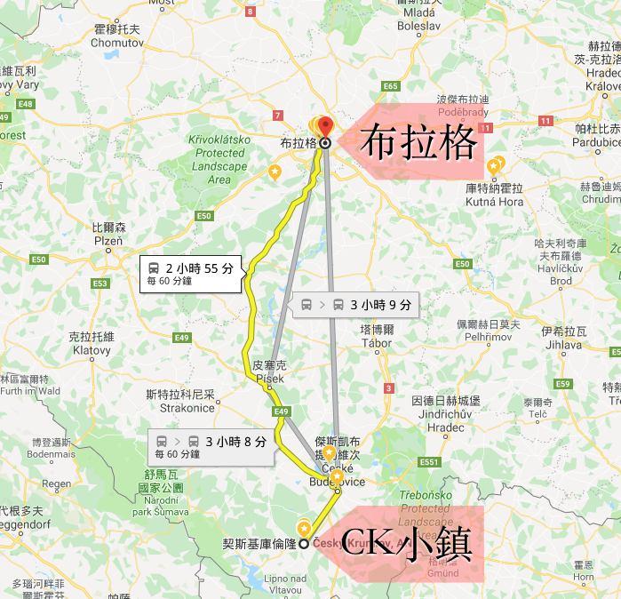ck小鎮, 布拉格, 捷克, 庫倫洛夫交通, CK小鎮地圖