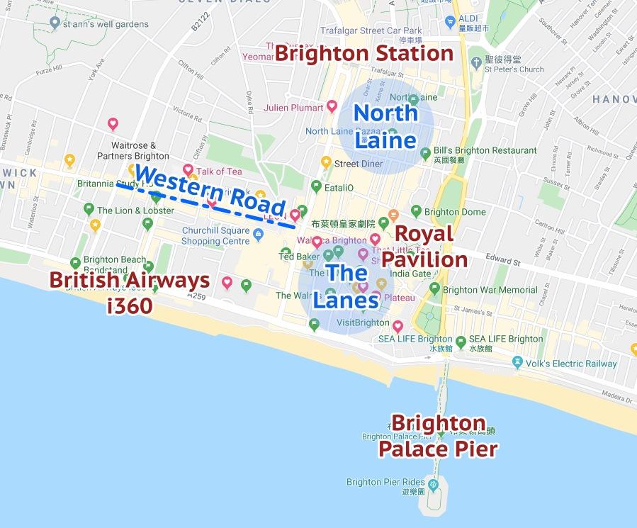 Brighton, 布萊頓, 布萊頓交通, 英國布萊頓, 倫敦布萊頓, 布萊頓市區地圖