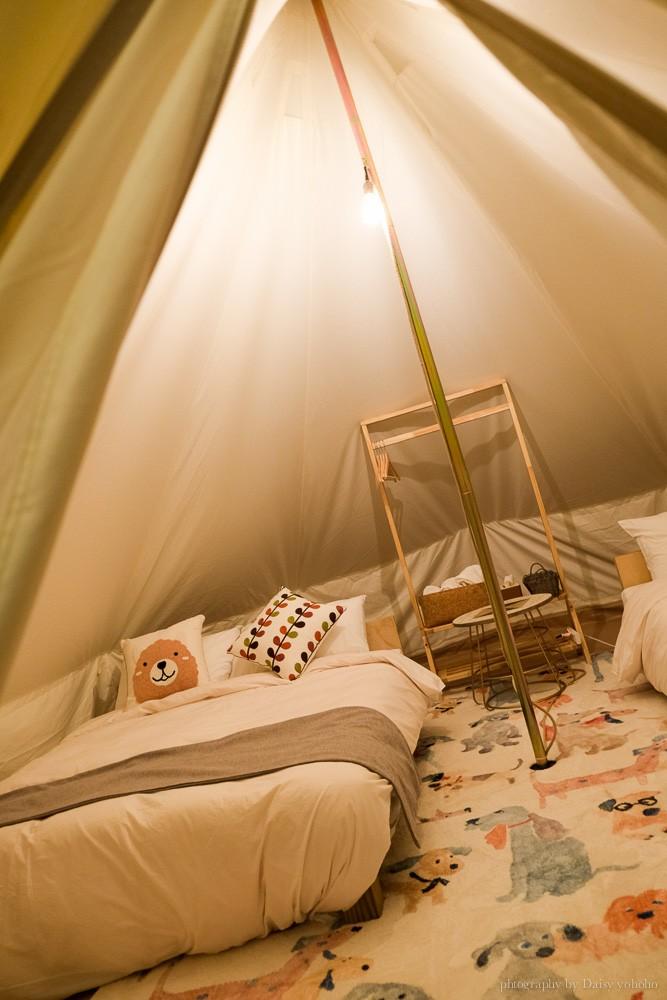蟬說:山中靜靜, 台中帳篷, 豪華帳篷, 台中住宿, 酒桶山, 情侶旅行, 一泊三食, 捕夢網, 豪華露營, 營火棉花糖, 貓咪生吐司
