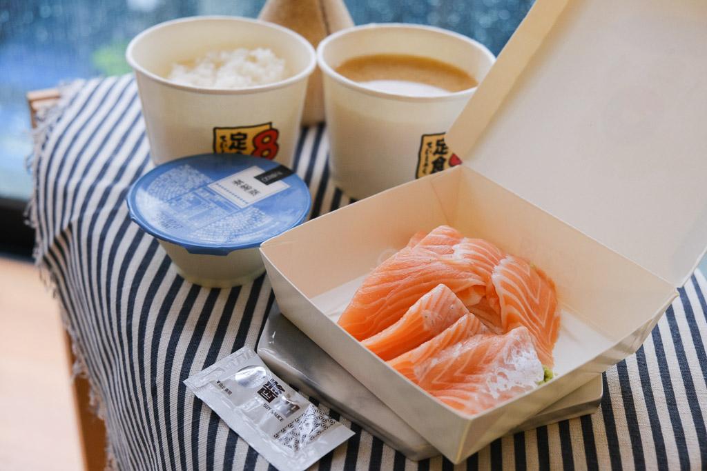 定食8, 台南仁德家樂福定食8, Ubereat外送, 鮭魚生魚片, 茶碗蒸外送
