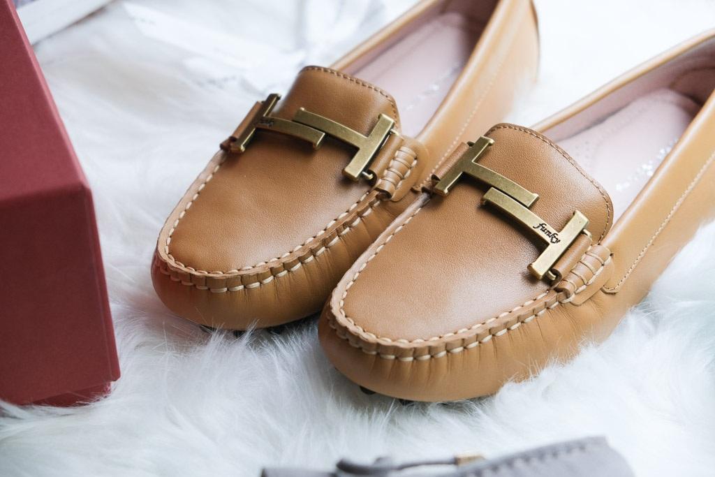鉑金小姐豆豆鞋焦糖牛奶色-Funky Princess真皮豆豆鞋推薦