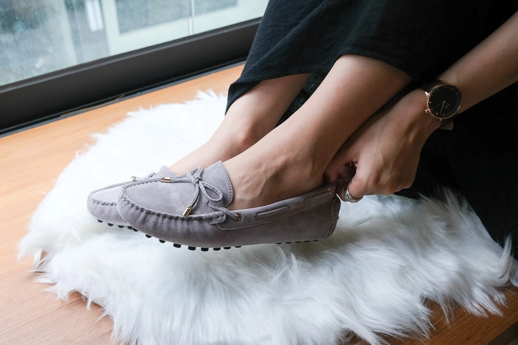 迷霧灰豆豆鞋試穿-真皮豆豆鞋推薦